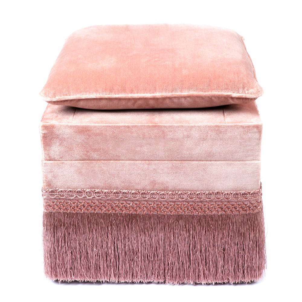 Lucia Velvet Fabric Ottoman Stool with Cushion Top, Pink