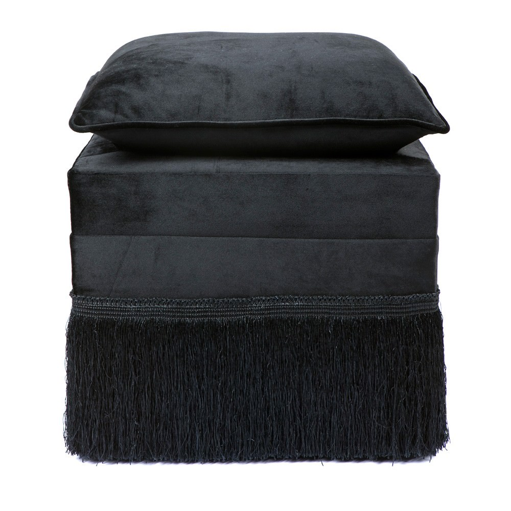 Lucia Velvet Fabric Ottoman Stool with Cushion Top, Black