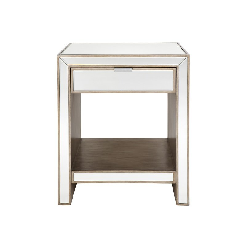 Sabrina mirrored single drawer bedside table watchthetrailerfo