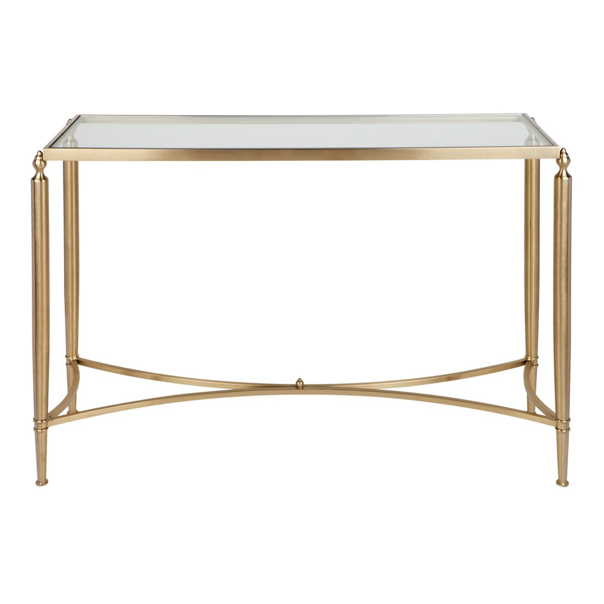 Jacques Glass Top Stainless Steel Console Table, 124cm, Gold