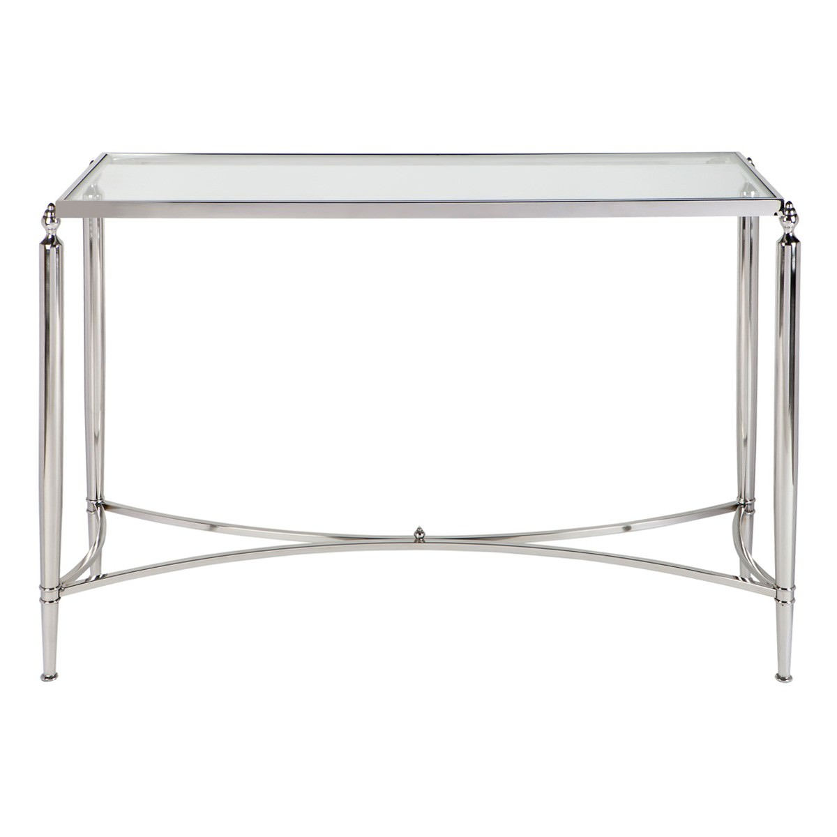 Jacques Glass Top Stainless Steel Console Table, 124cm, Nickel