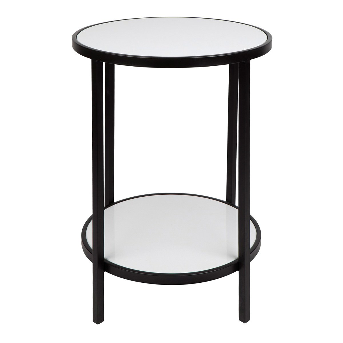 Cocktail Stone Top Iron Round Side Table Black