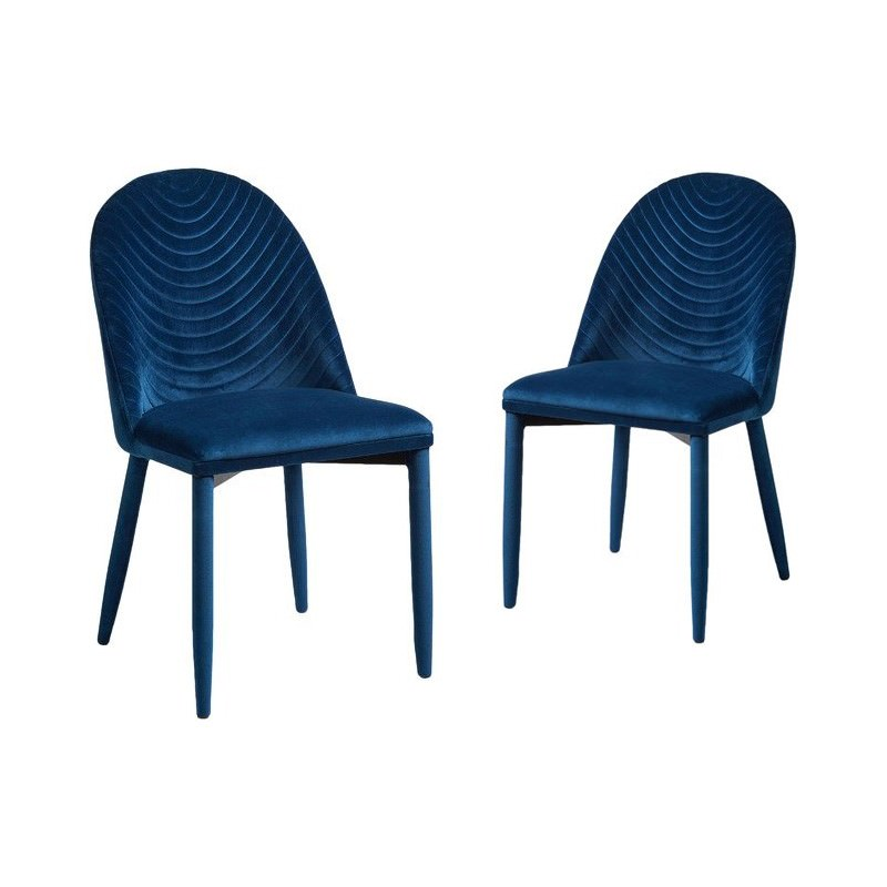 Set of 2 Rogue Velvet Fabric Dining Chairs, Sapphire