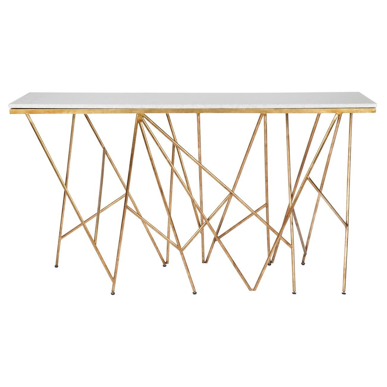 Louis Faux Marble & Iron Console Table, 147cm