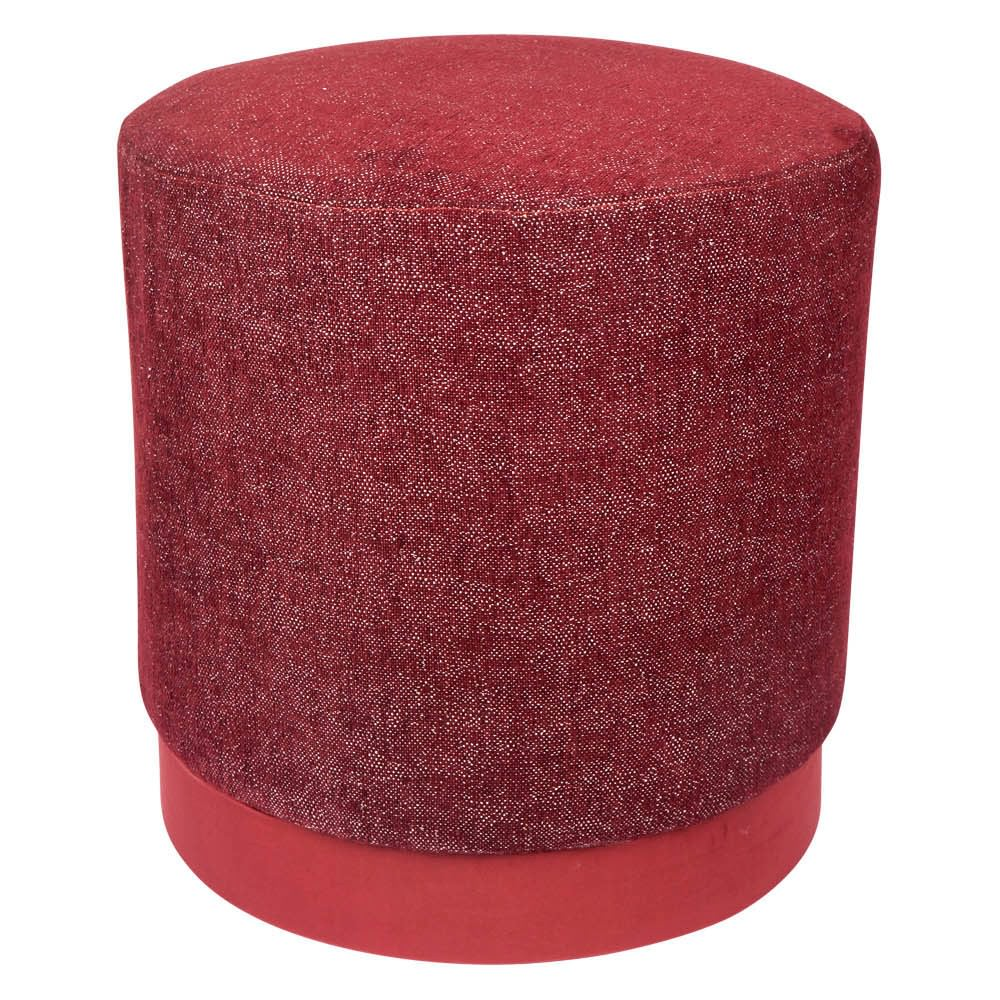 Global Fabric Round Ottoman Stool, Bordeaux Red
