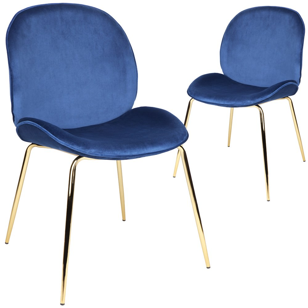 Set of 2 Quill Velvet Fabric Dining Chairs, Blue