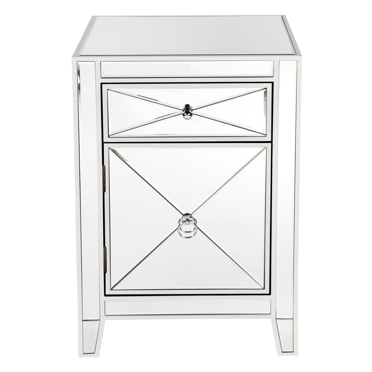 Apolo Mirrored Bedside Table, White