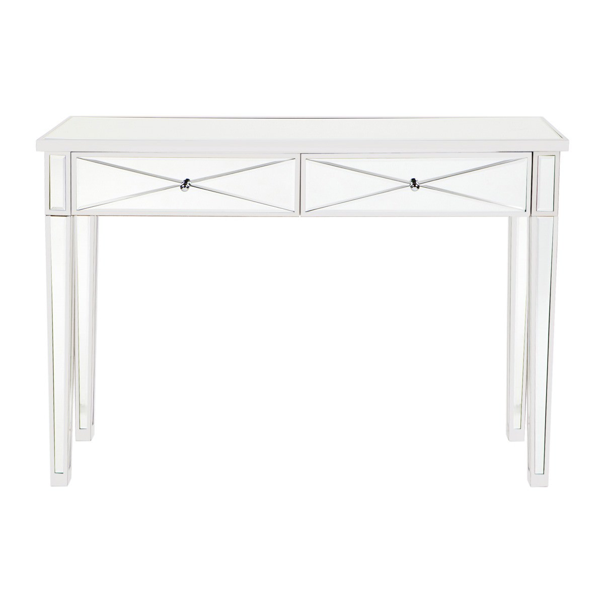 Apolo Mirrored Glass 2 Drawer Console Table, 121cm, White