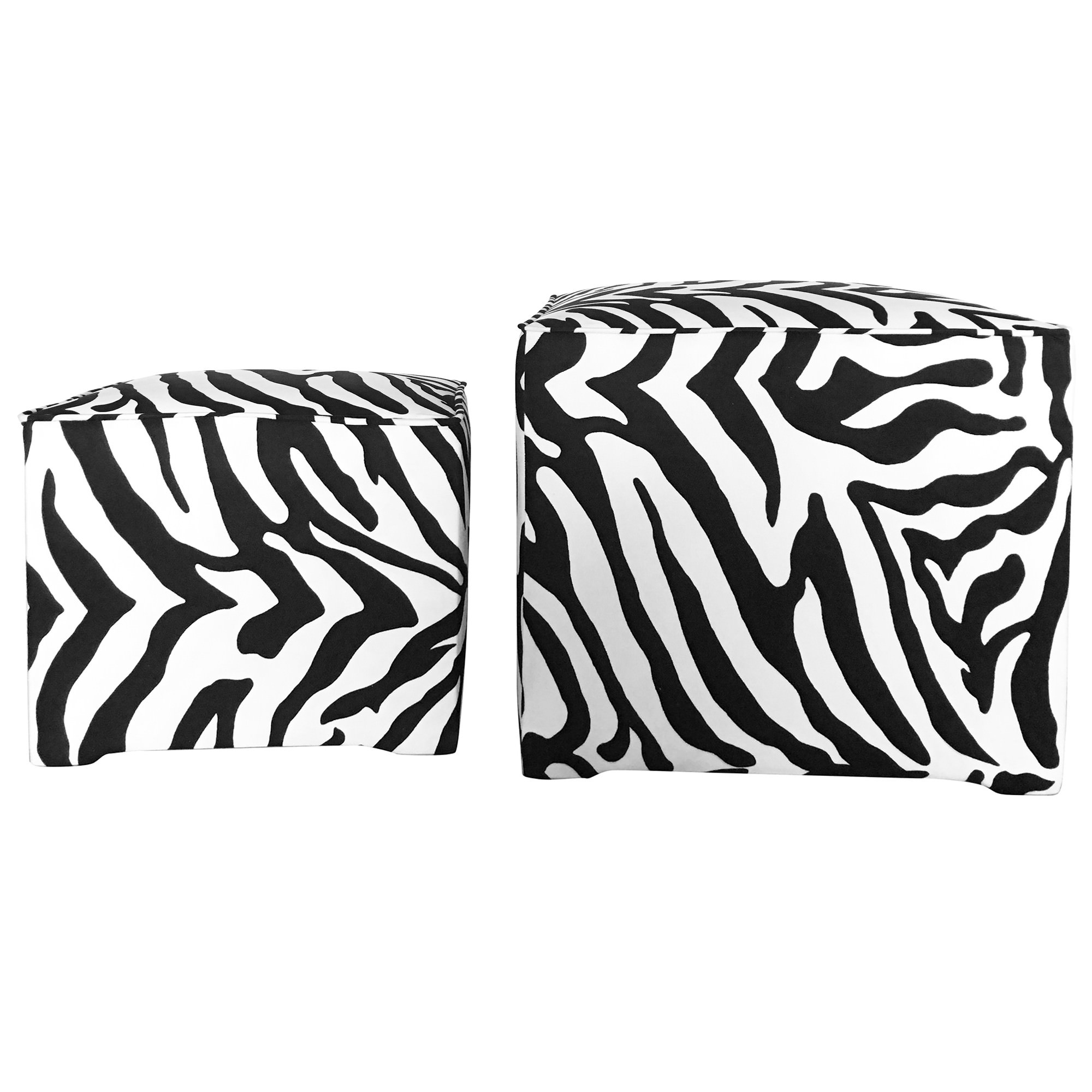 Denistone 2 Piece Zebra Fabric Foot Stool Set