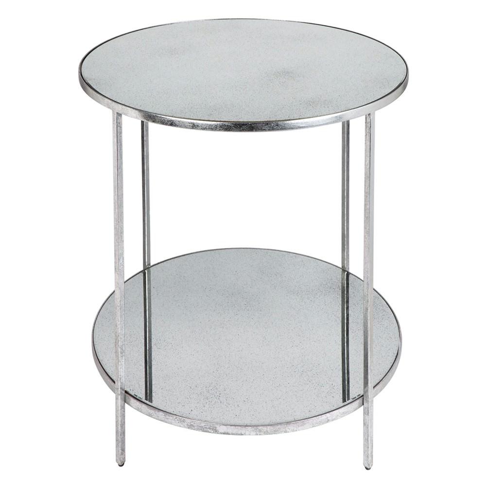 Aisha Antique Mirror Top Iron Side Table, Antique Silver