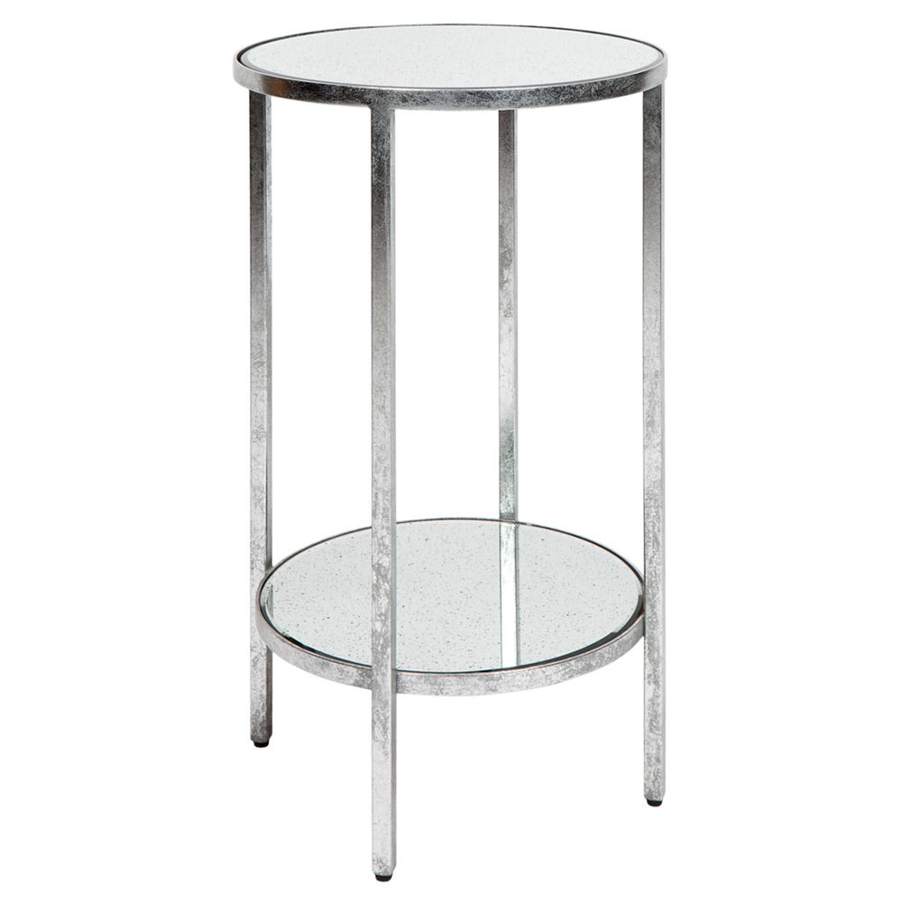 Cocktail Antique Mirror Top Iron Side Table, Small, Antique Silver