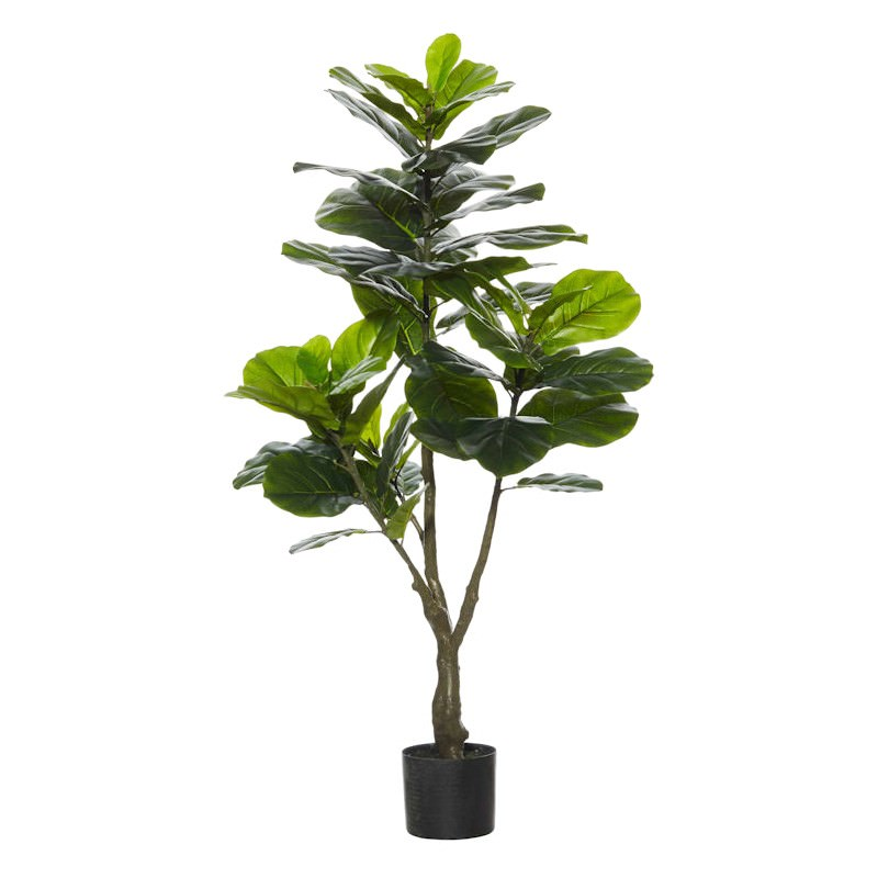 Potted Artificial Fiddle Leaf Fig Tree, Type A, 120cm