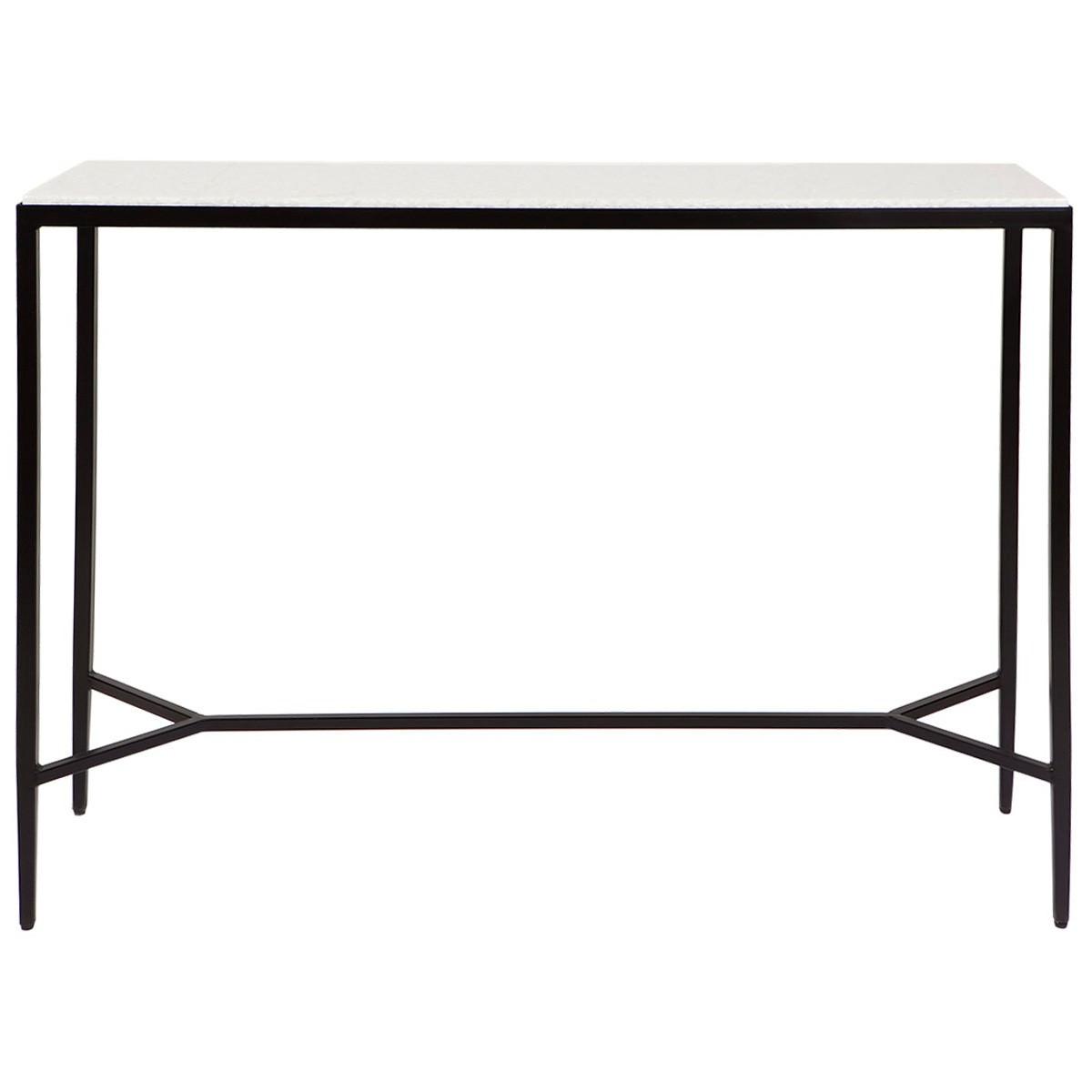 Chloe Stone & Iron Console Table, 110cm, Black