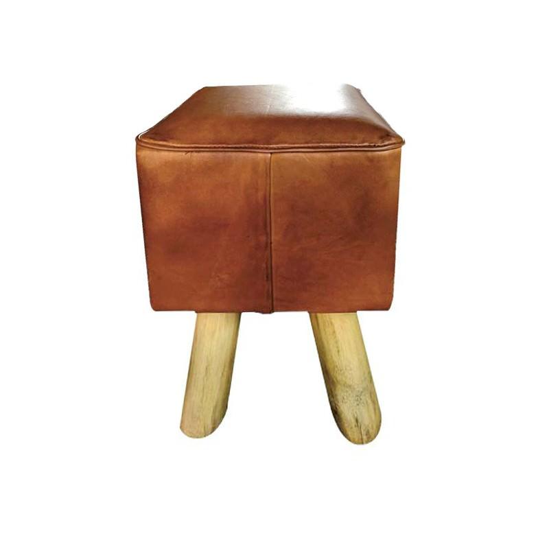 Tredeu Leather & Teak Timber Table Stool