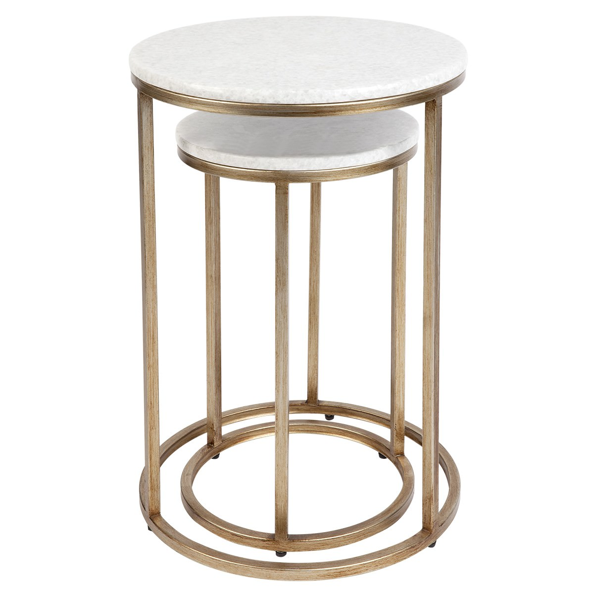 Chloe 2 Piece Stone & Iron Nested Side Table Set, Antique Gold