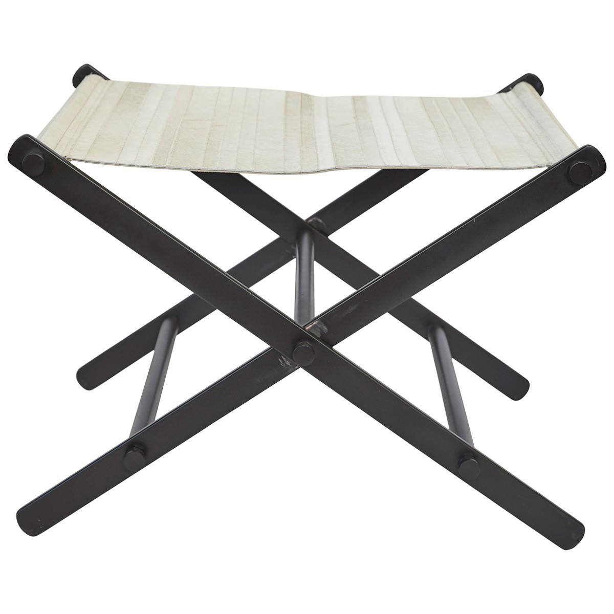 Leland Cow Hide & Stainless Steel Directors Stool, White