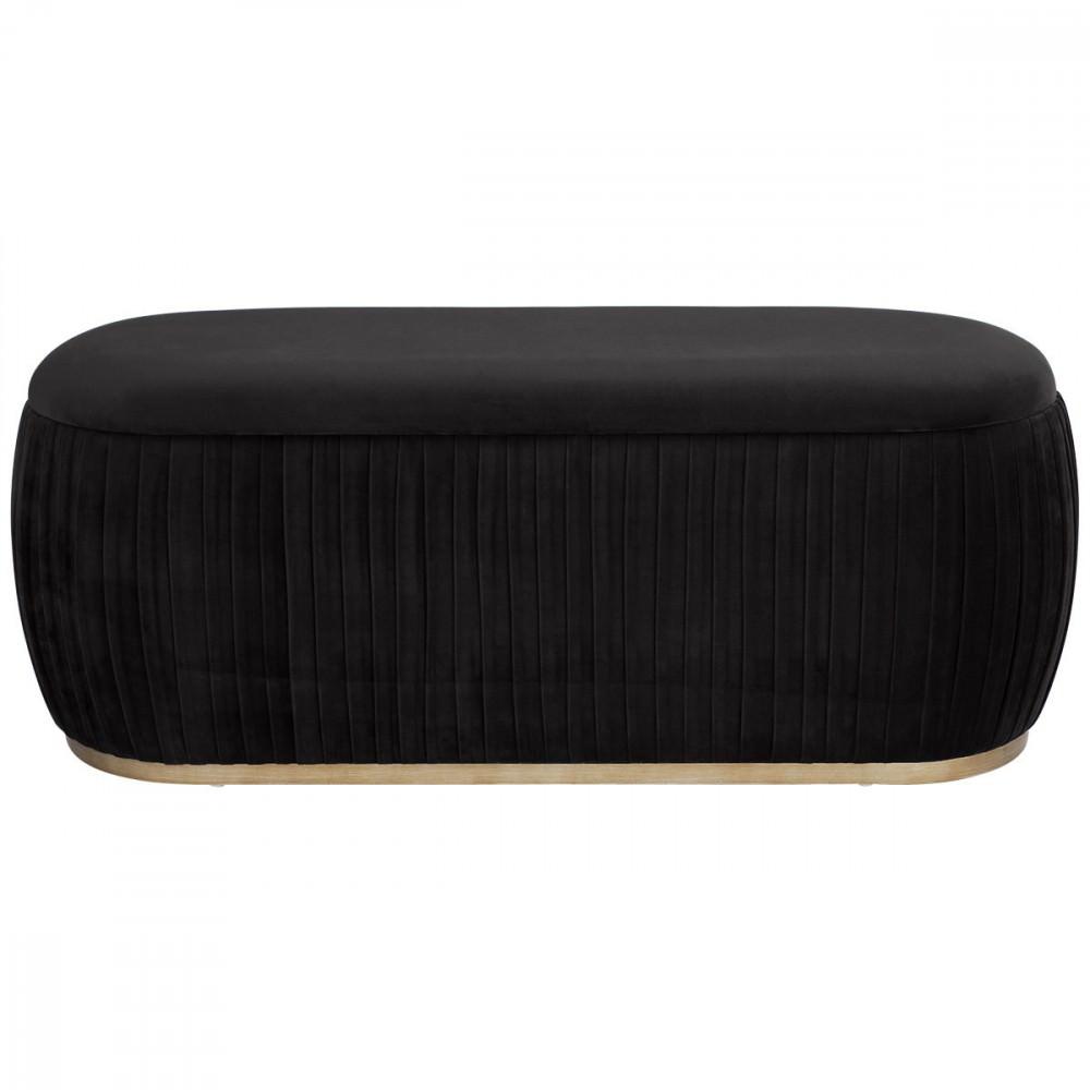 Capsule Velvet Fabric Storage Ottoman, Black
