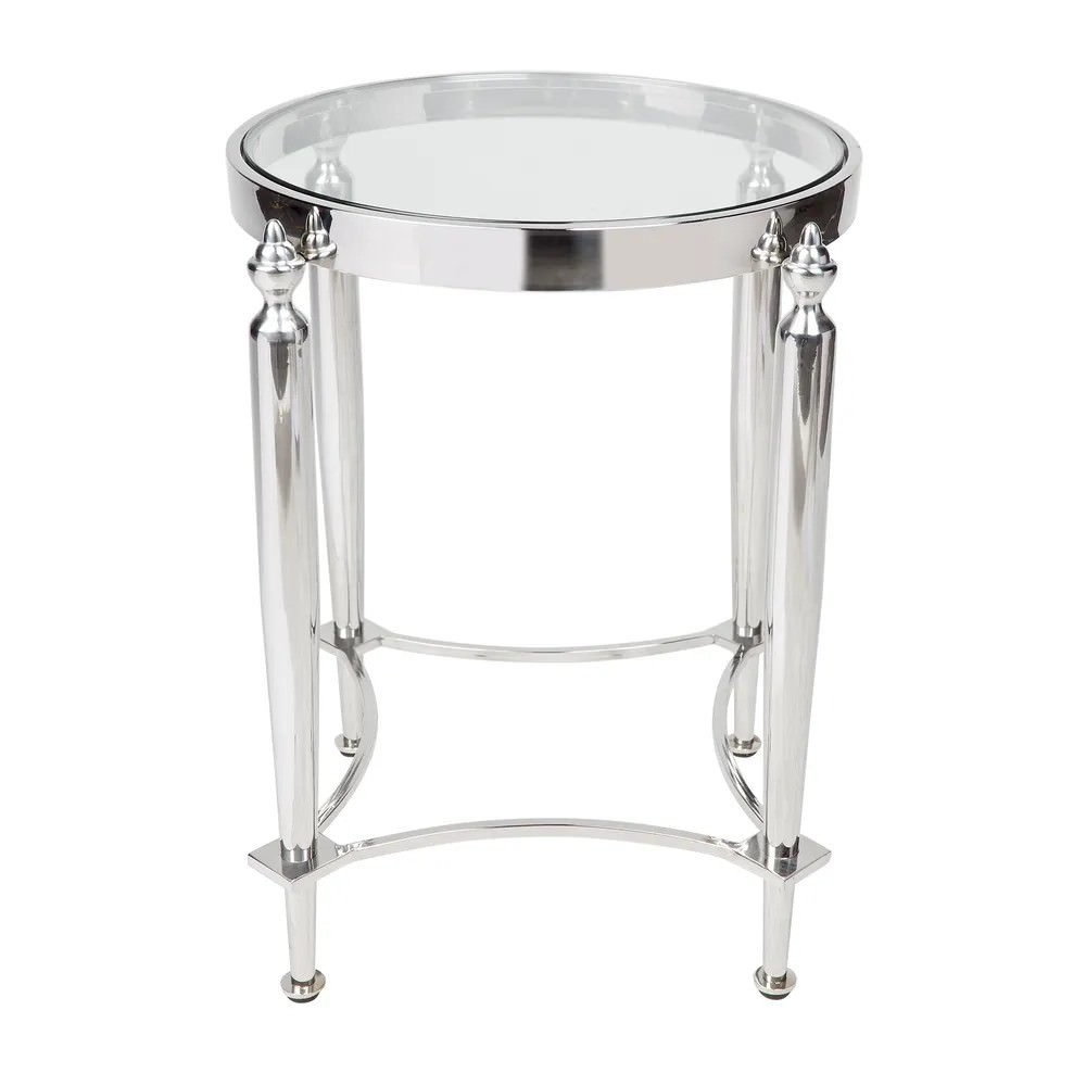 Jak Stainless Steel Round Side Table, Nickel