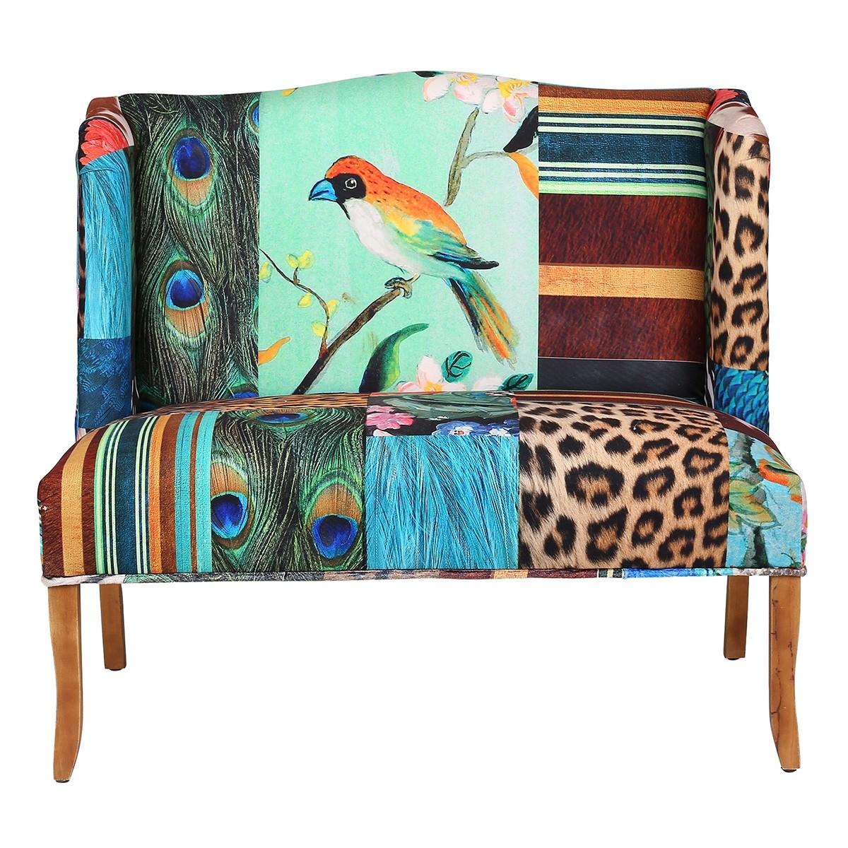 European Designed Bird Pattern Love Seat
