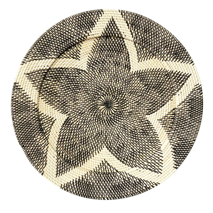 Tevin Hand Woven Rattan Round Tray / Wall Art, Star, 60cm