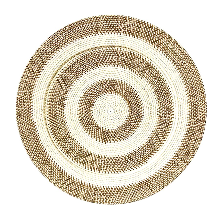 Tevin Hand Woven Rattan Round Tray / Wall Art, Circles, 70cm, Brown