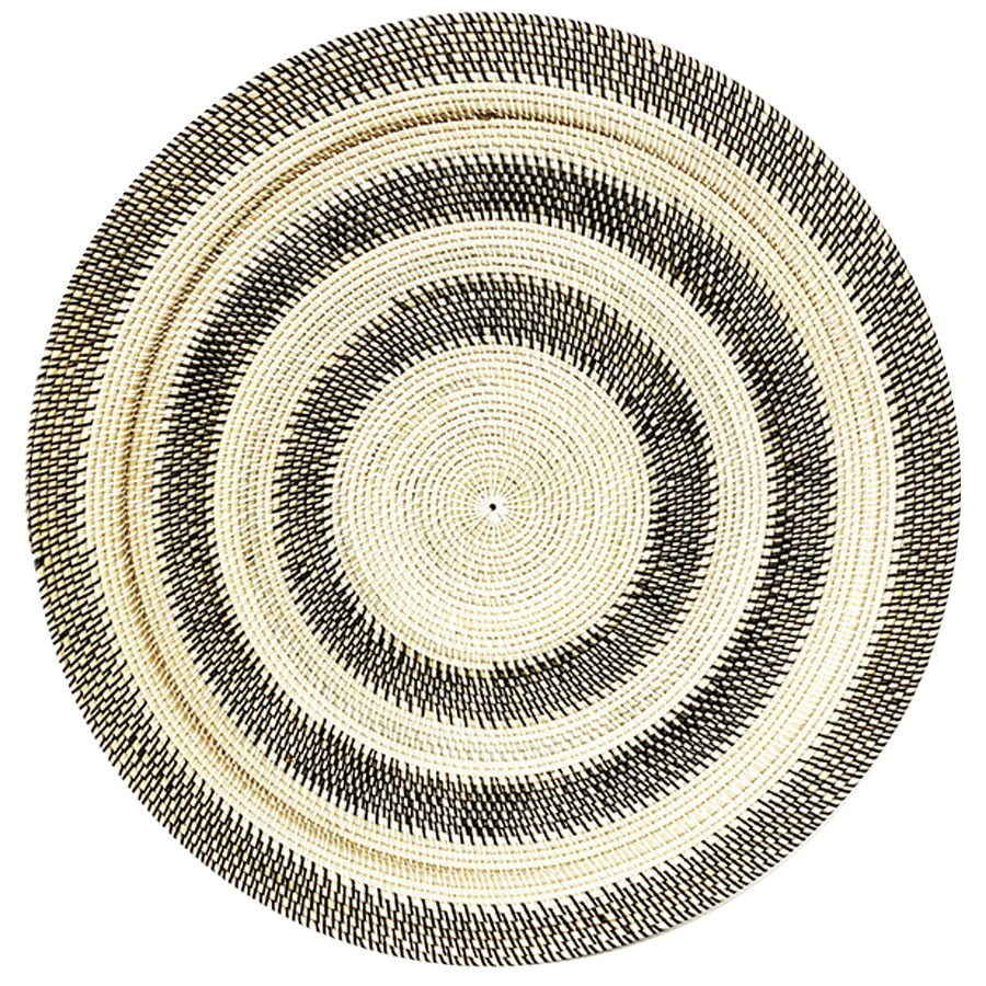 Tevin Hand Woven Rattan Round Tray / Wall Art, Circles, 80cm, Black