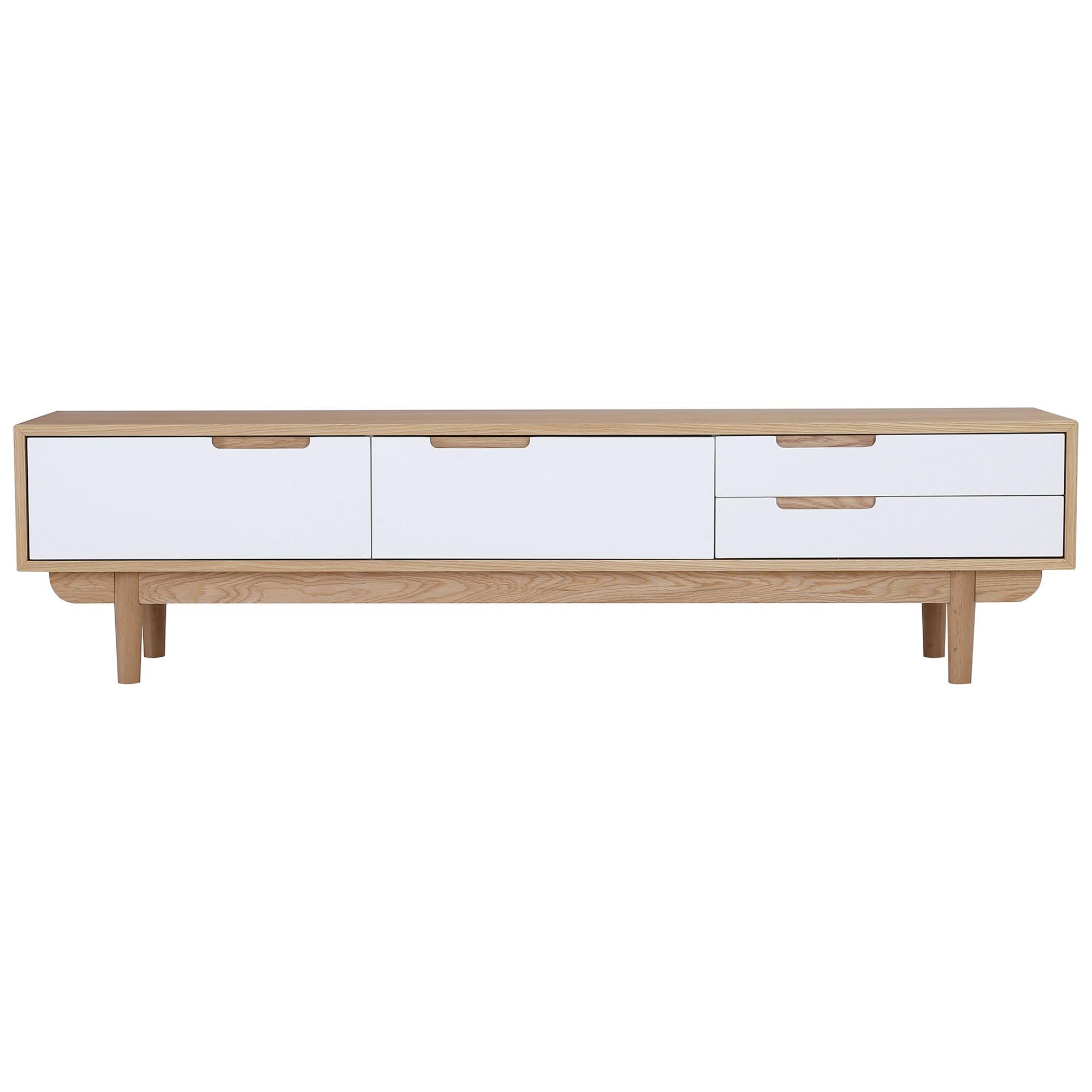 Nakula 2 Door 1 Drawer TV Unit, 180cm, Natural / White