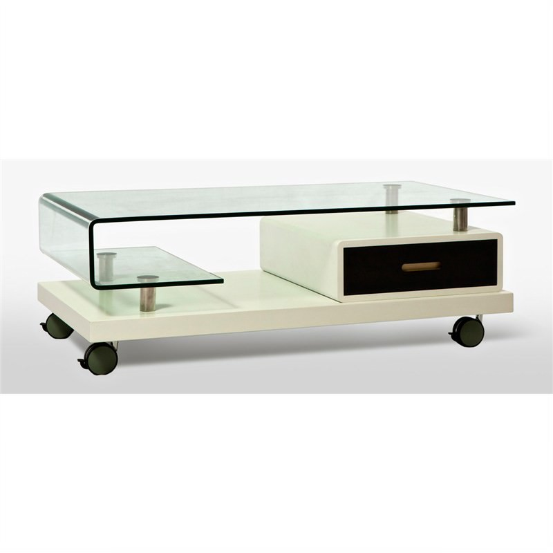 Glass Coffee Table with Black and White Base