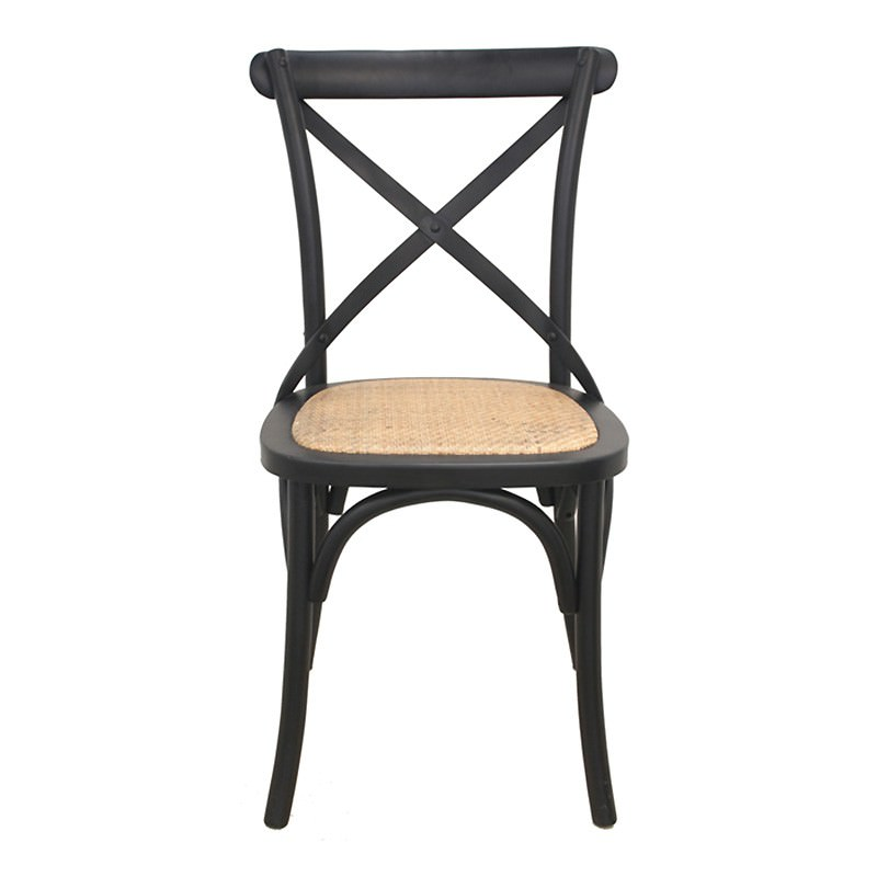 Esai Birch Timber Cross Back Dining Chair with Rattan Seat, Black