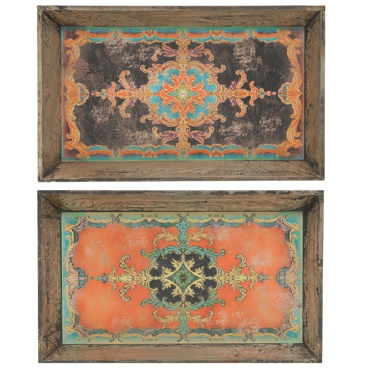 Set Of 2 Assorted Designer Wooden Trays