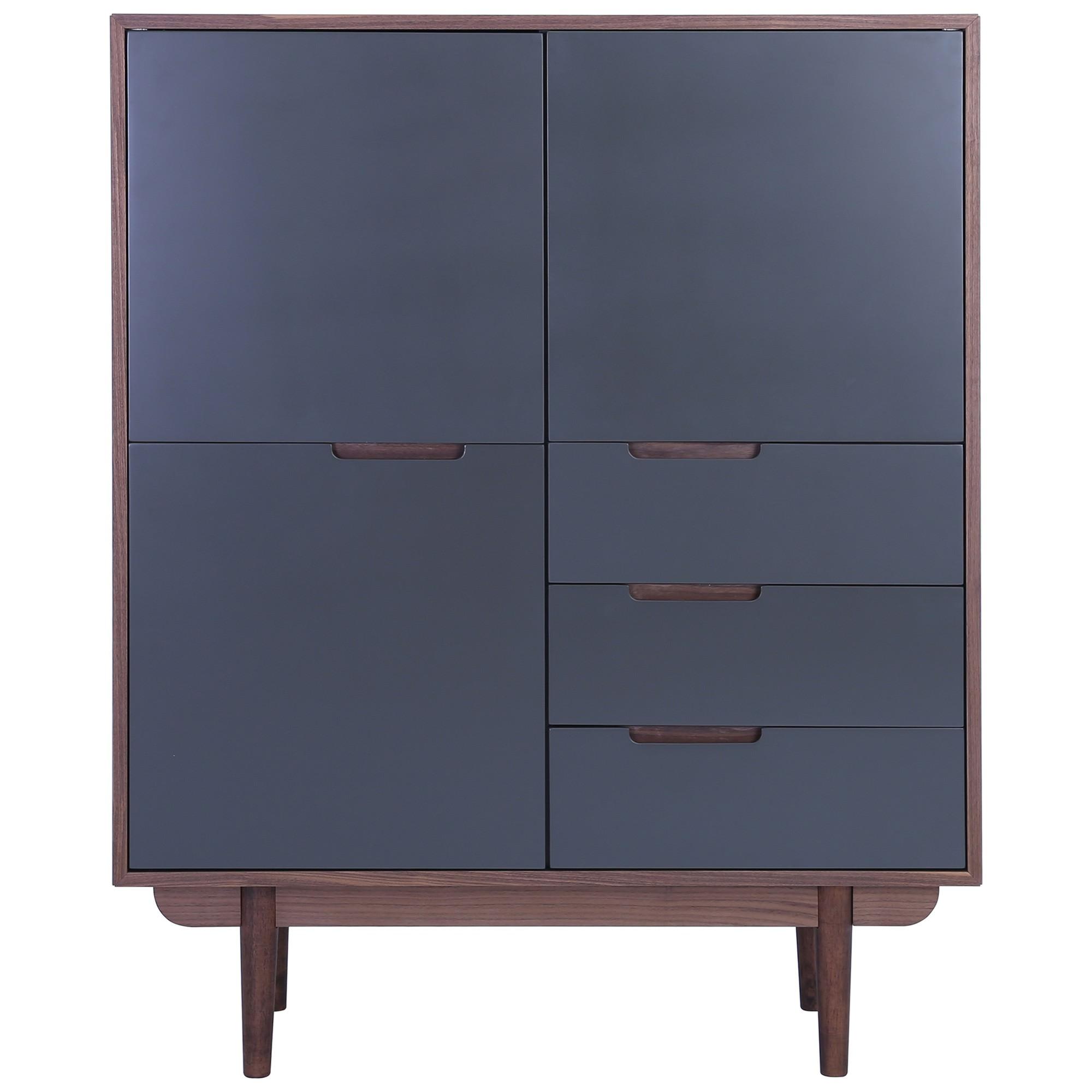 Nakula 2 Door 3 Drawer Cupboard, Walnut / Gunmetal