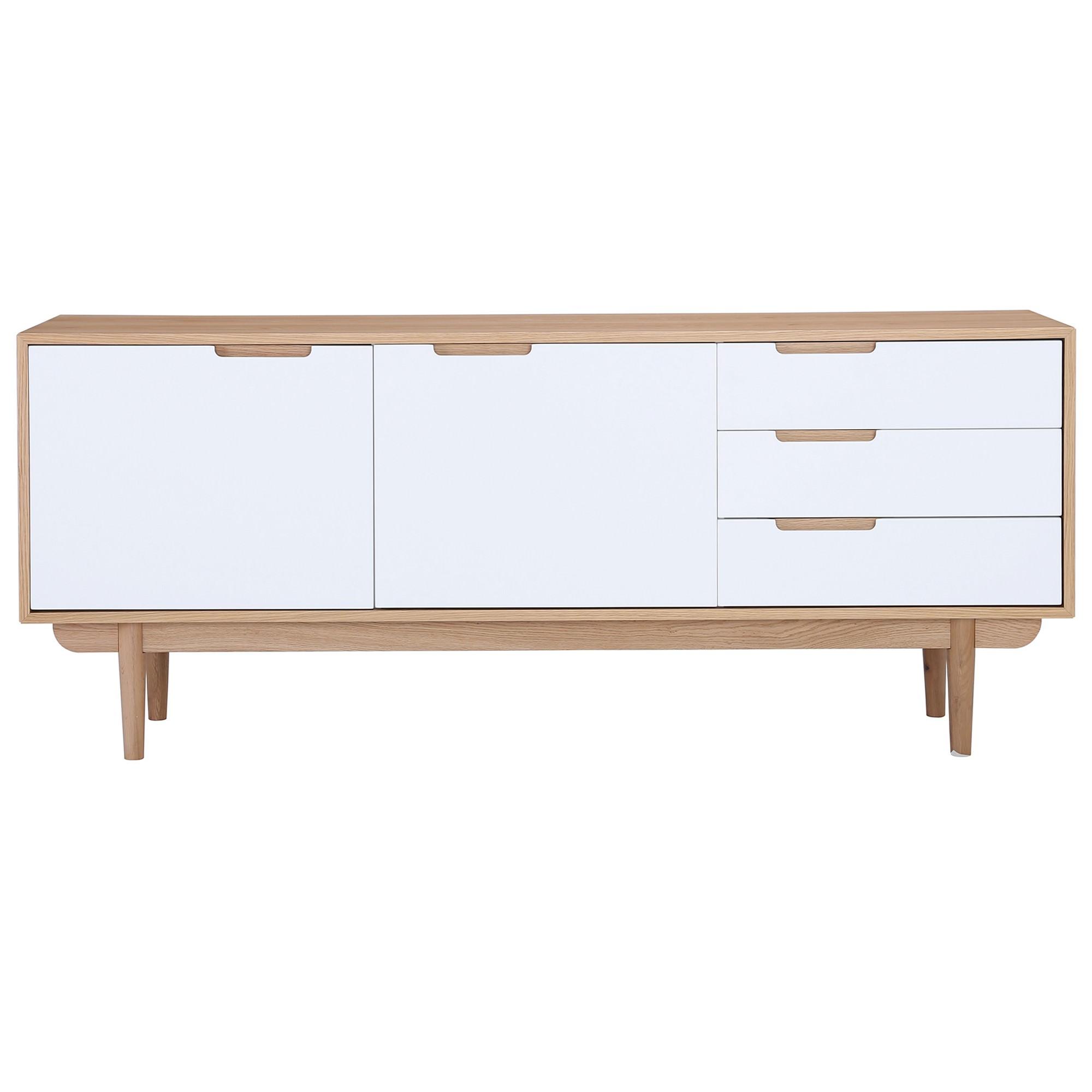Nakula 2 Door 3 Drawer Sideboard, 180cm, Natural / White