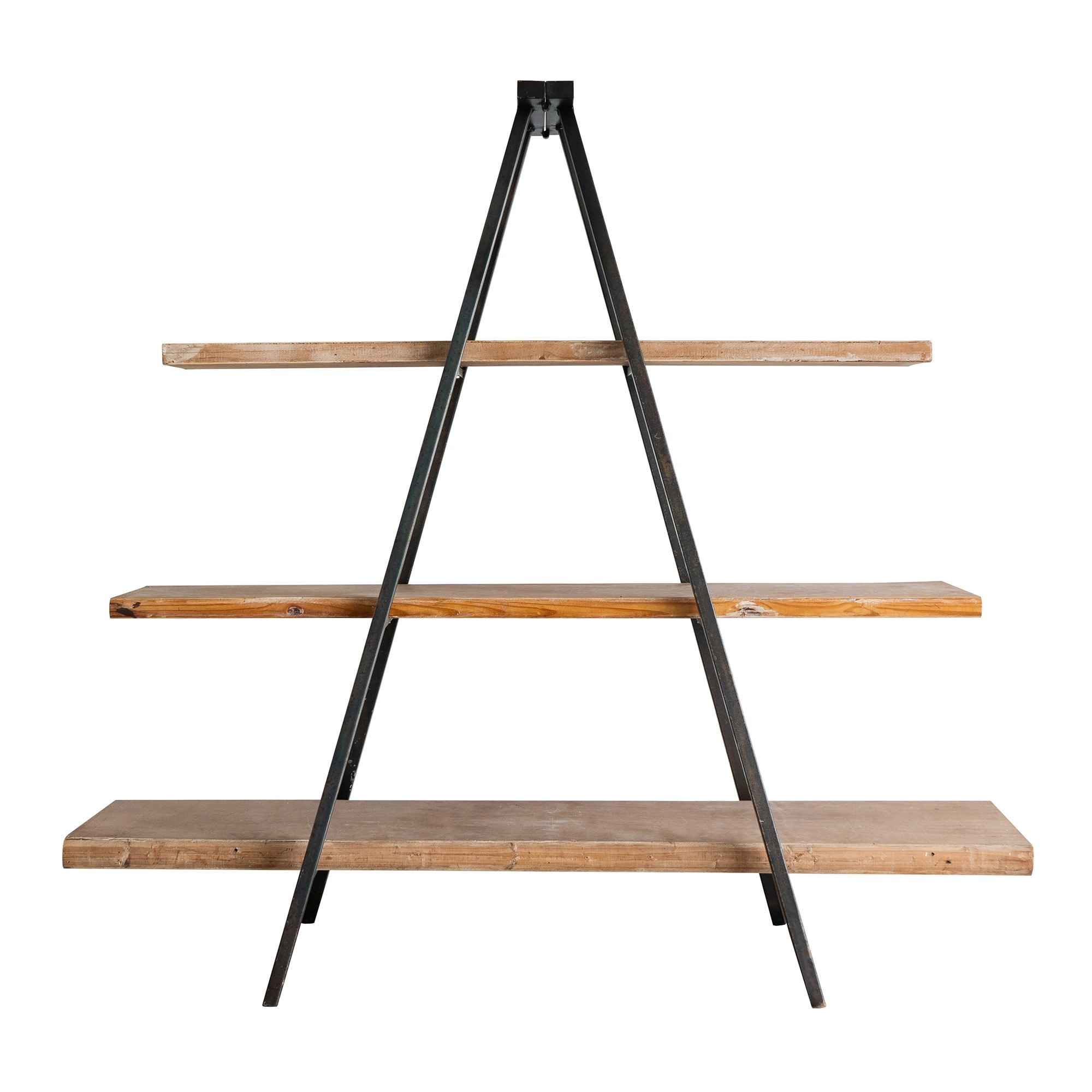 Industrial Iron Tripod Display Shelf with Timber Shelves