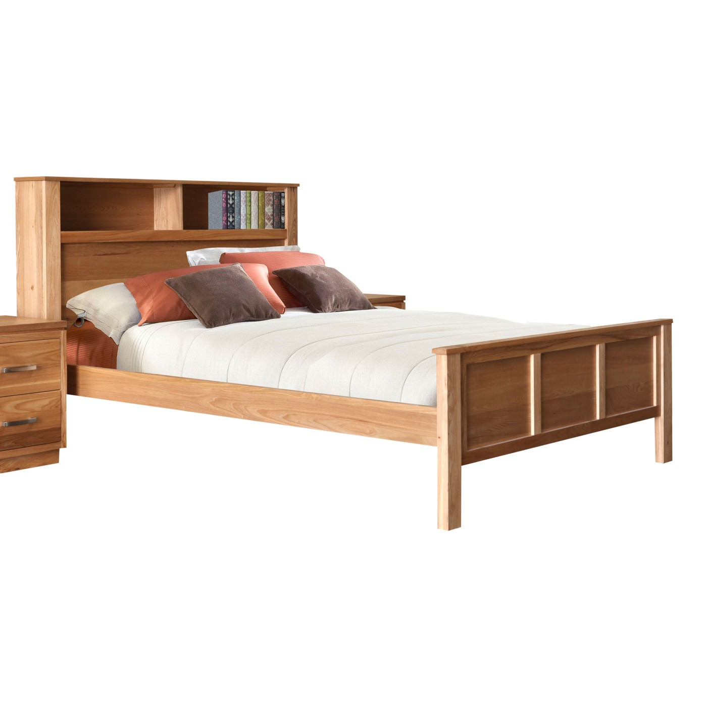 Tara Elm Timber Bookcase Bed Queen
