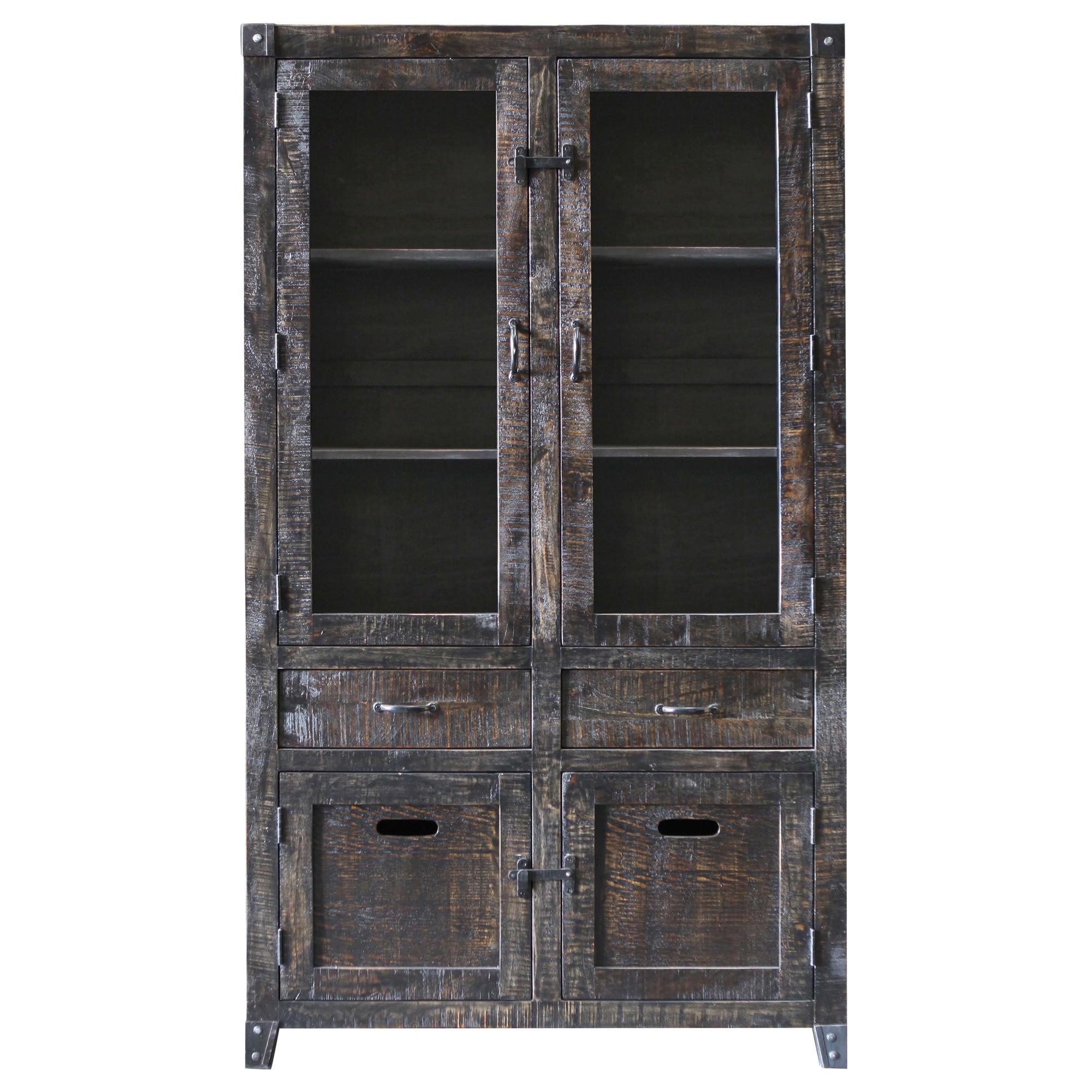City Living Hardwood Timber 4 Door 2 Drawer Display Cabinet