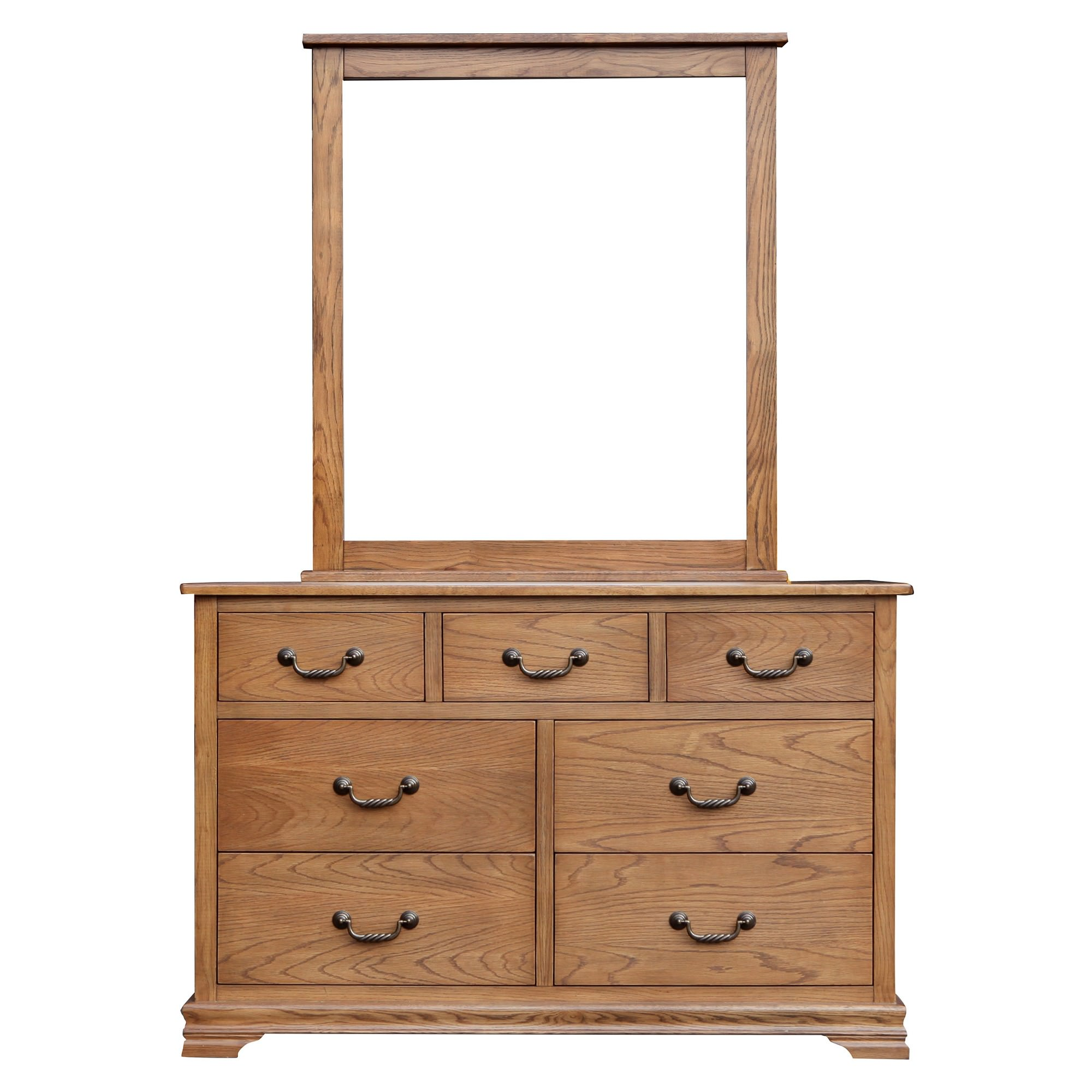 Malibu American Oak Timber 7 Drawer Dresser with Mirror
