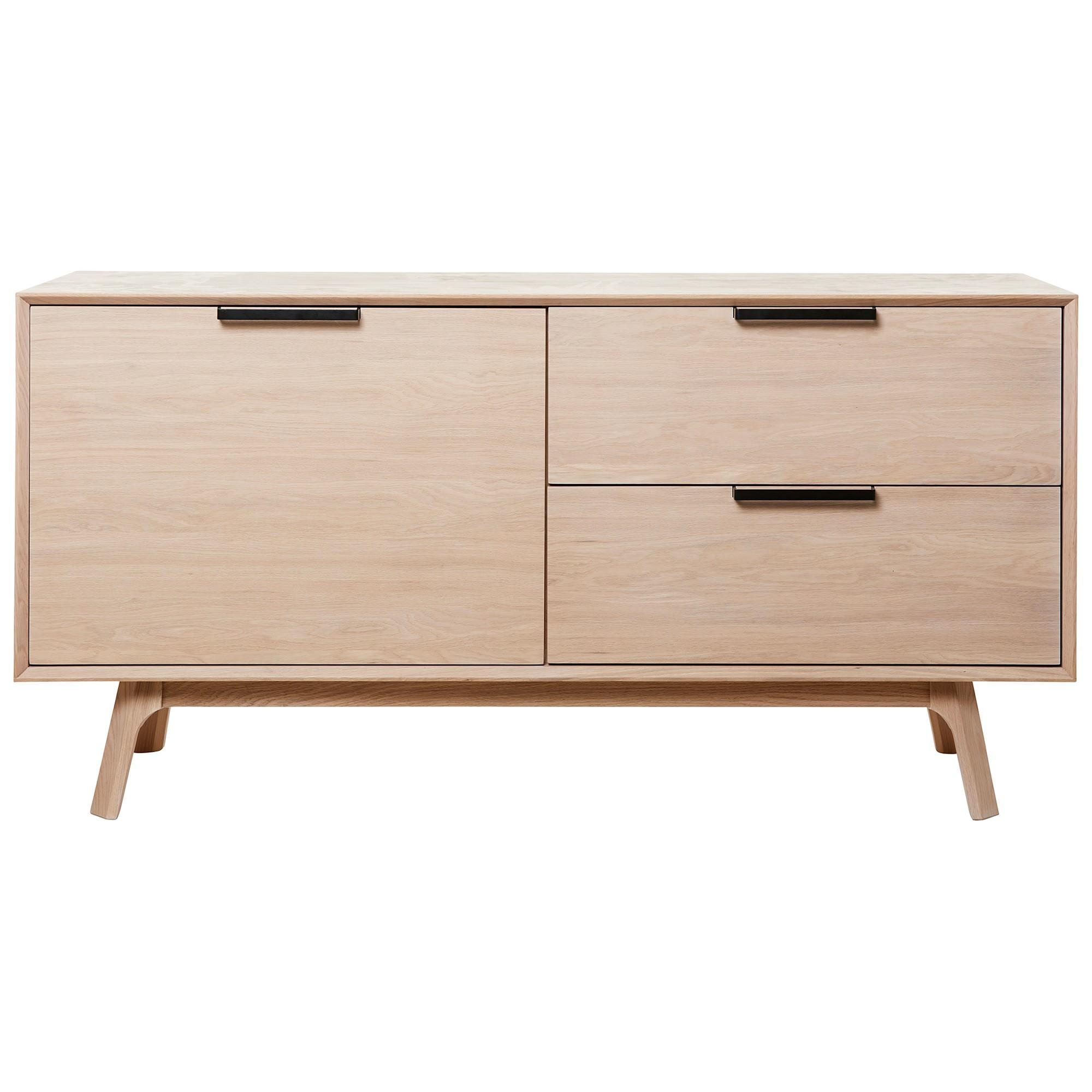 Capri White Oak Timber 1 Door 2 Drawer Sideboard, 150cm