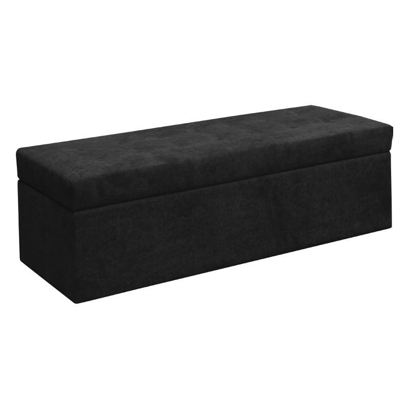 Francis Fabric Storage Ottoma, Black