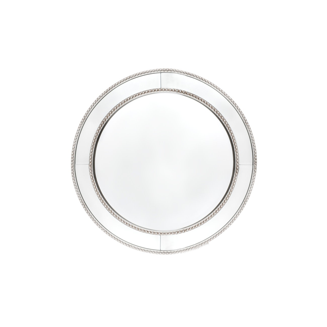 Zeta Round Wall Mirror, 60cm, Antique Silver