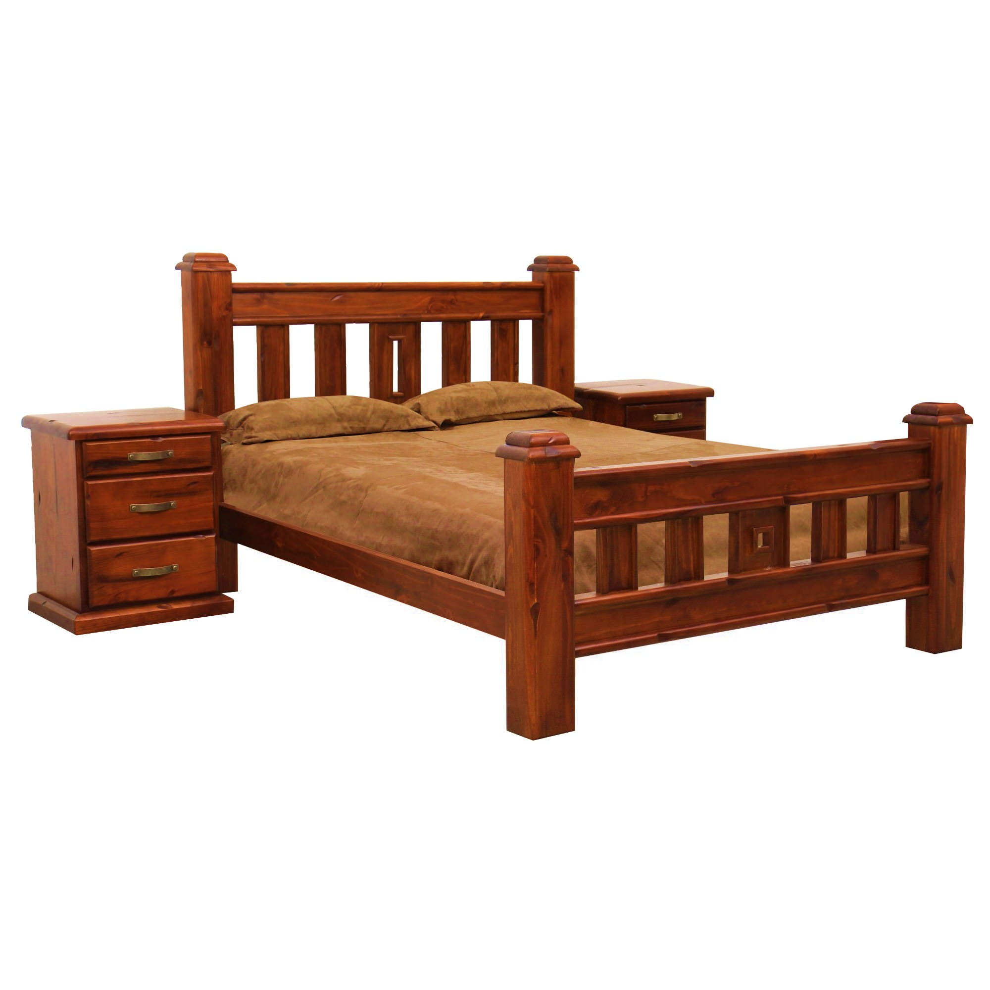 Serafi Pine Timber Bed, Double