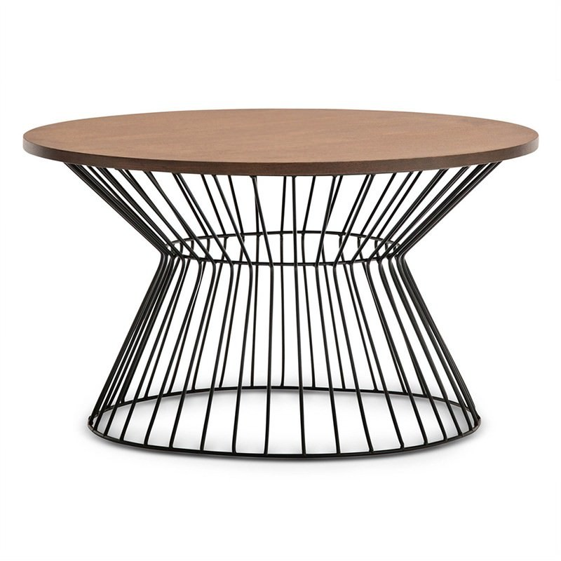 Fabiano Wooden Top Metal Wireframe 80cm Round Coffee Table