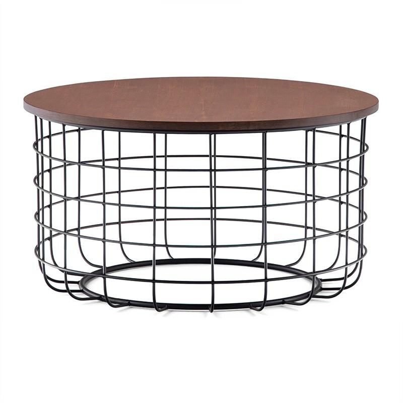 Gabriela Wooden Top Metal Wireframe Round Coffee Table, Walnut/Black