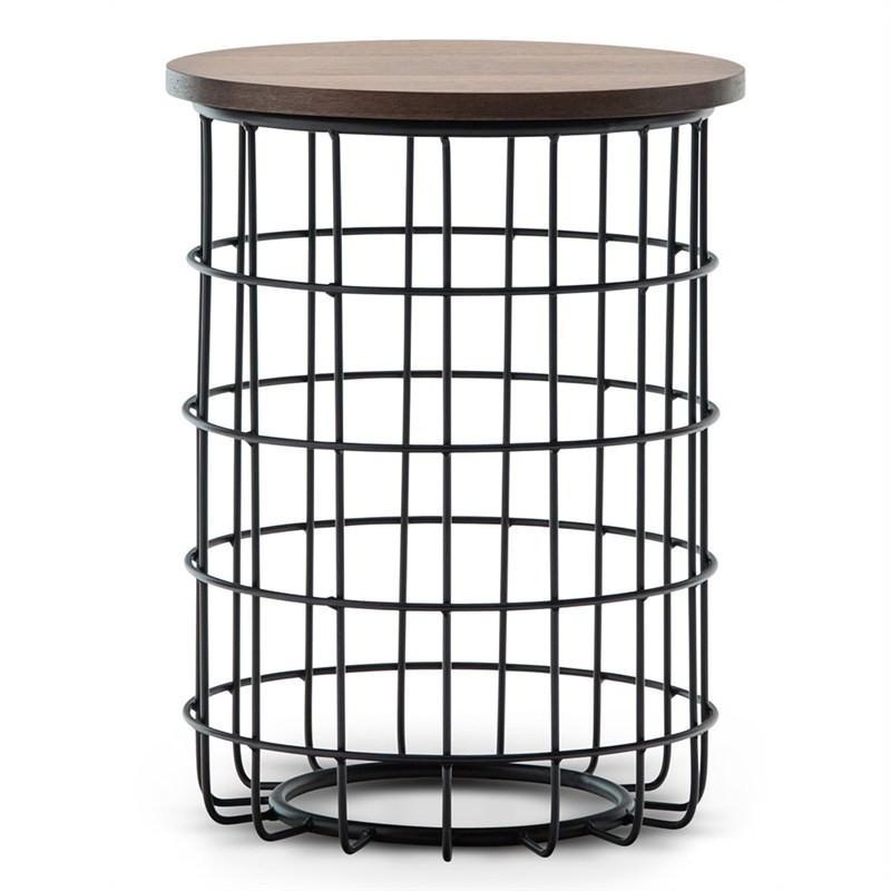 Gabriela Wooden Top Metal Wireframe Round Side Table - Walnut/Black