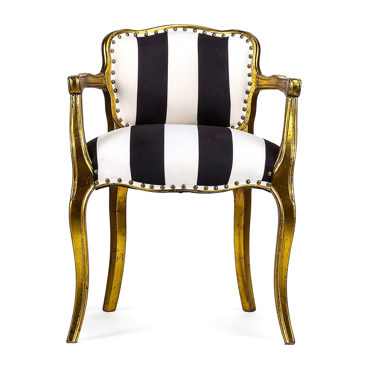 Celestine Striped Fabric Upholstered Beech Timber Dining Armchair