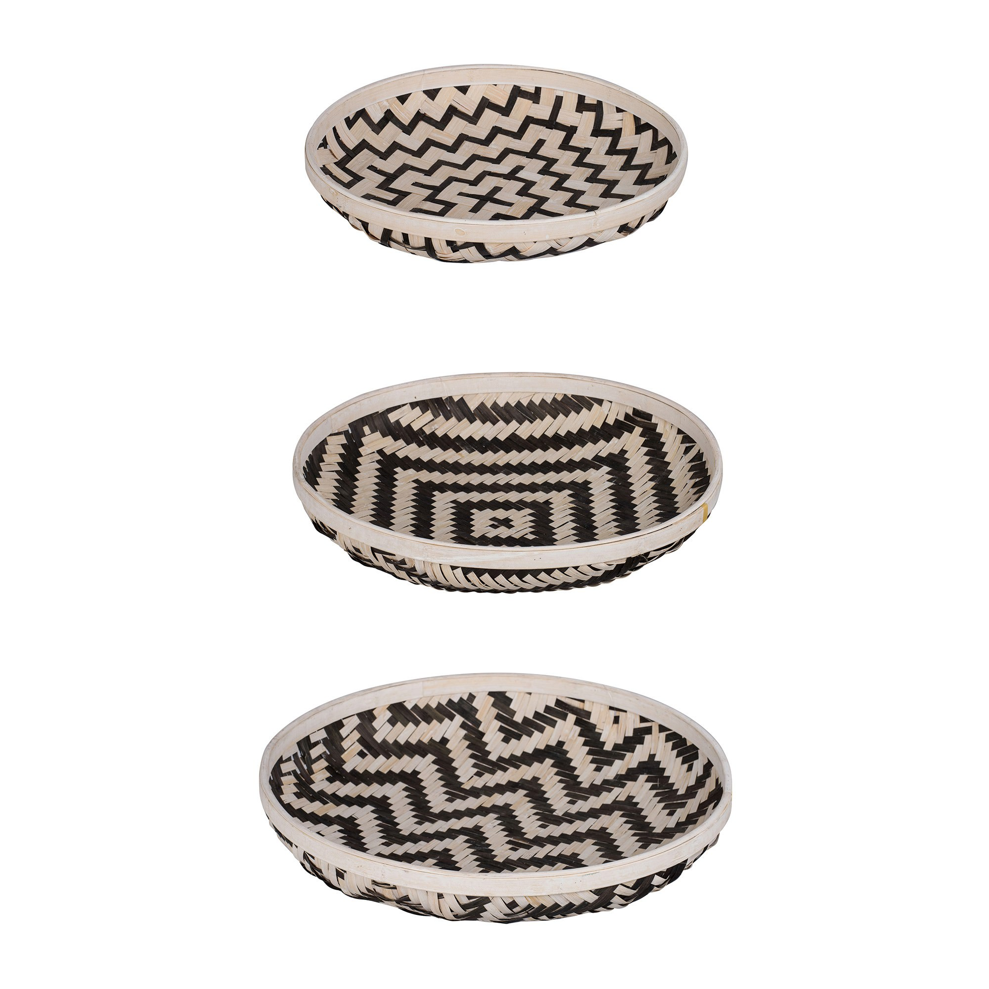 Organic Elements 3 Piece Woven Basket Tray Set, Round