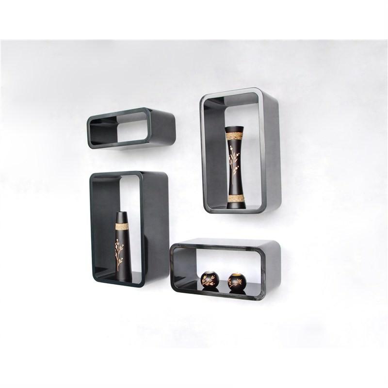 Set of 4 High Gloss Black Rectangular Kubes