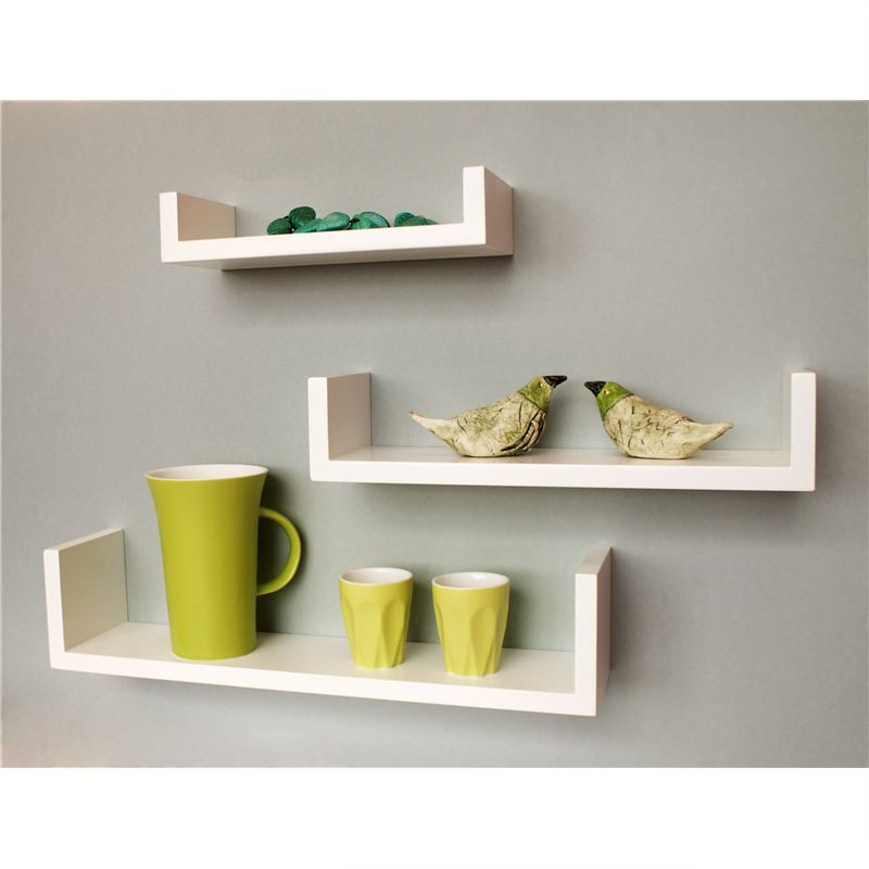 Tres U Shaped wall  Mounted White SHELVES (set of 3)
