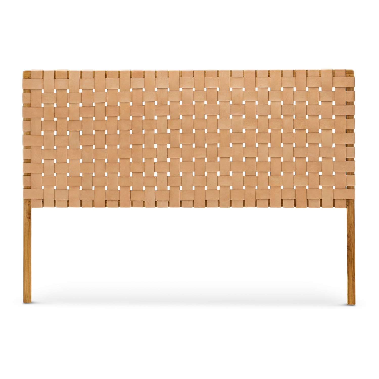 Lazie Woven Leather Teak Bed Headboard Queen Tan Natural