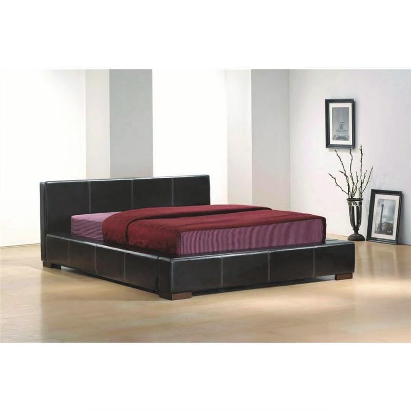 Deluxe Bicast Leather Queen Bed - Dark Chocolate