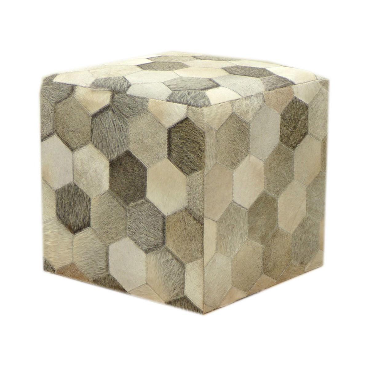 Cybele Hexagonal Patchwork Cowhide Ottoman